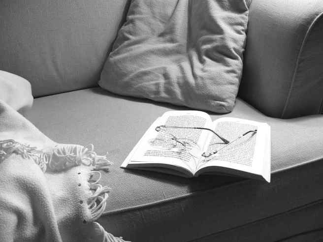 Reading (black and white photo)