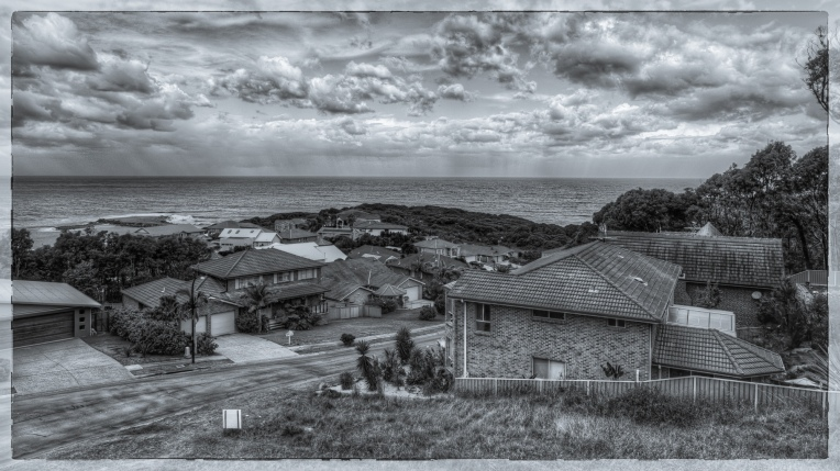 Caves Beach in Black and White
