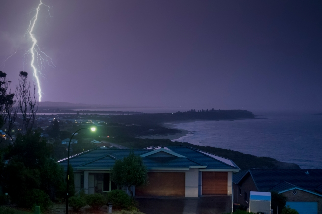 Lightning Over Caves Beach