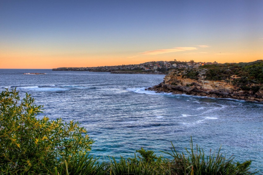 Looking across towards Clovelly Beach at sunset.